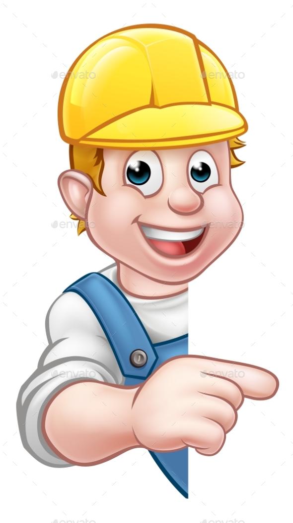 Handyman Builder Worker in Hard Hat - Miscellaneous Vectors