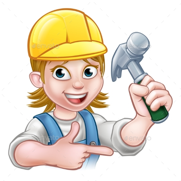 Female Carpenter Woman Cartoon Character - People Characters