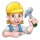 Female Carpenter Woman Cartoon Character