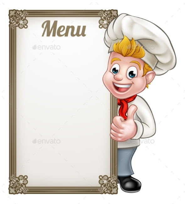 Cartoon Chef or Baker Character Menu by Krisdog | GraphicRiver
