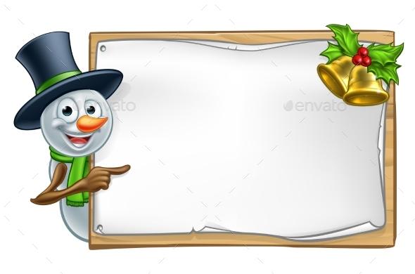 Christmas Snowman Cartoon Sign - Miscellaneous Vectors
