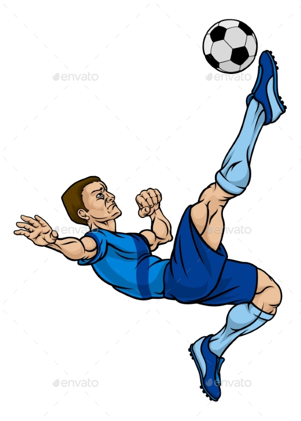 cartoon football soccer player sportsactivity conceptual