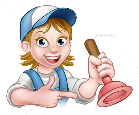 Woman Plumber Holding Plunger - People Characters