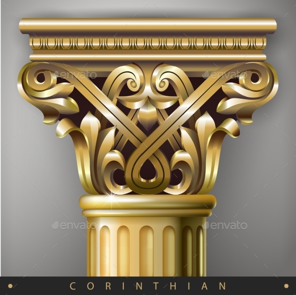 Golden Eastern Column - Buildings Objects