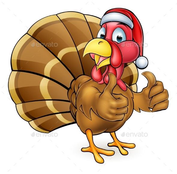 Cartoon Christmas Turkey Bird in Santa Hat