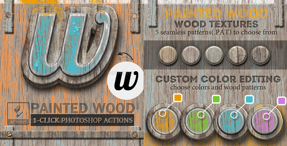 Painted Wood Photoshop Actions