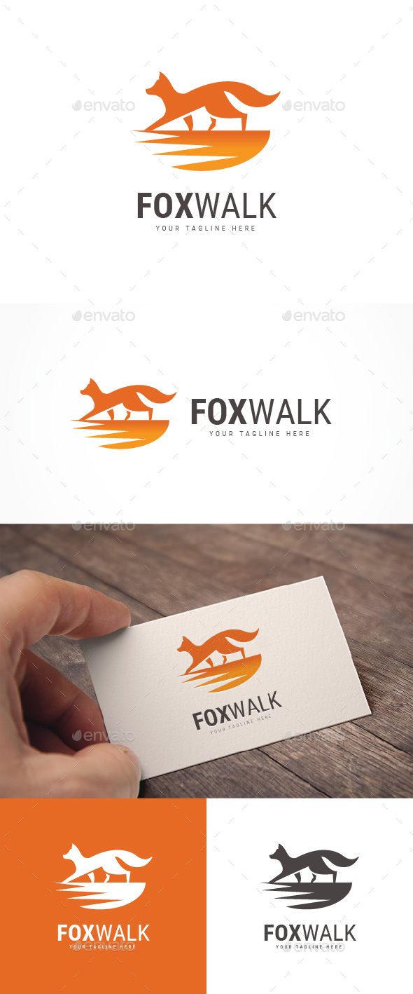 Fox Walk Logo - Animals Logo Templates