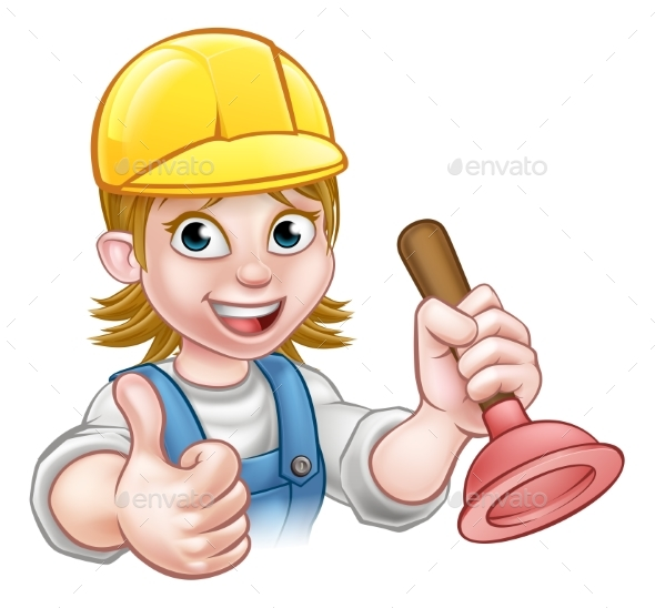 Female Cartoon Plumber Holding Plunger - Industries Business