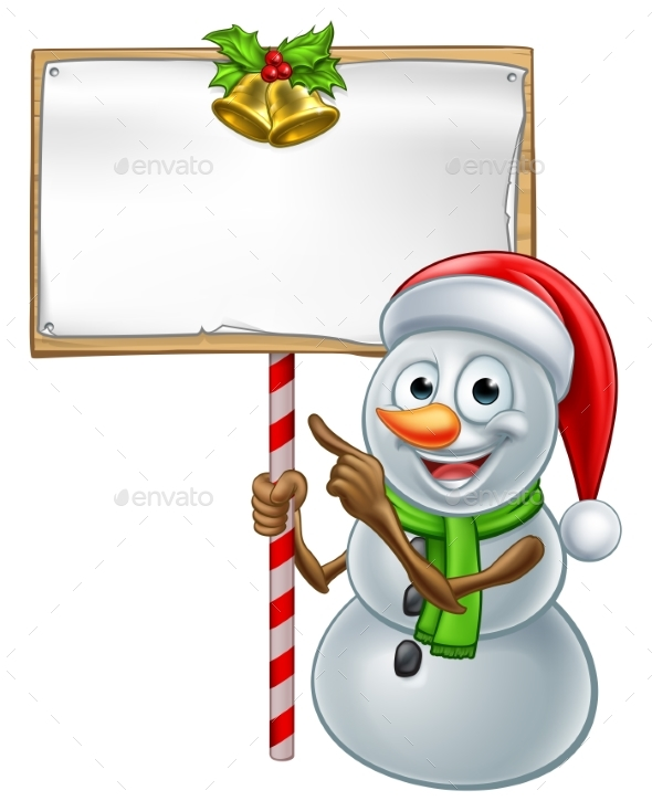 Snowman Holding Christmas Sign - Miscellaneous Characters