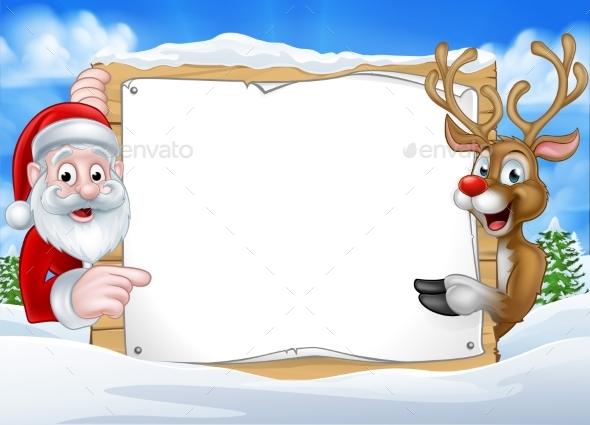 Santa and Reindeer Christmas Sign Background - Christmas Seasons/Holidays