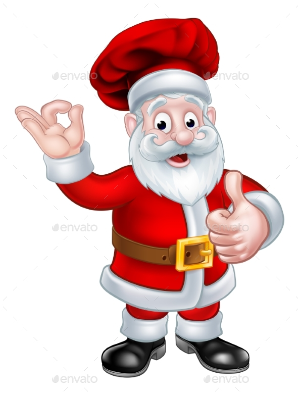 Santa Chef Christmas Cartoon Character - Christmas Seasons/Holidays