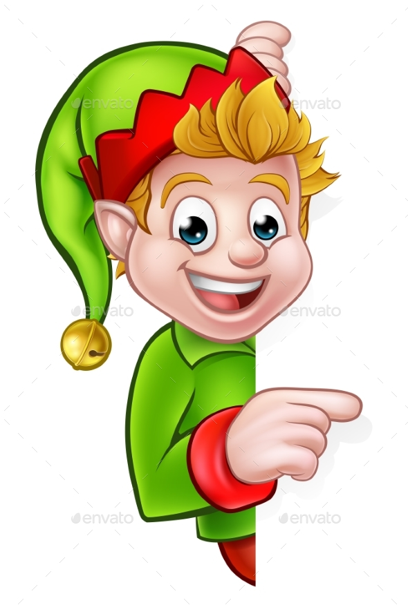 Pointing Christmas Elf Cartoon Character - Christmas Seasons/Holidays