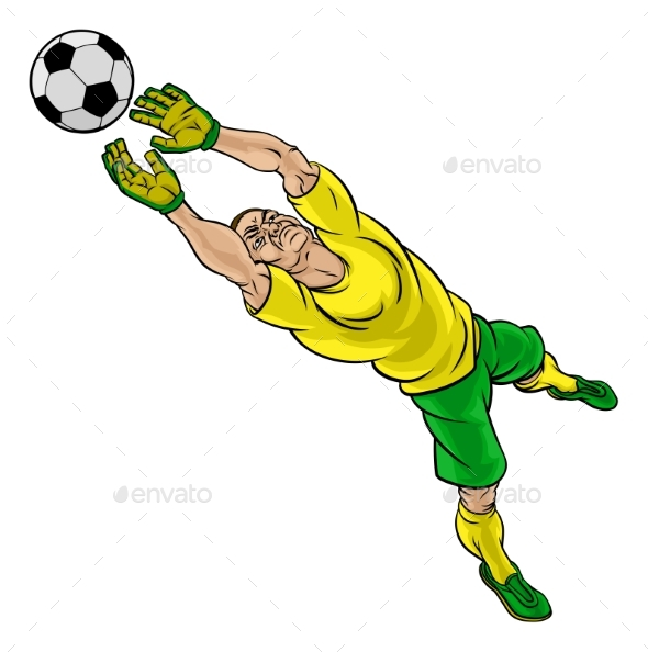 Cartoon Soccer Football Goalkeeper Player - Sports/Activity Conceptual