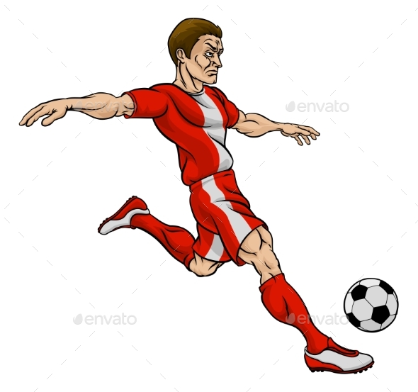 Football Soccer Player Cartoon Character - Sports/Activity Conceptual