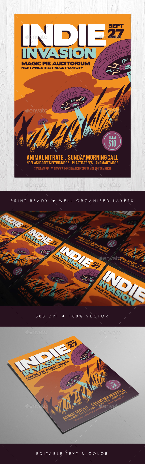 Indie Invasion Flyer - Events Flyers