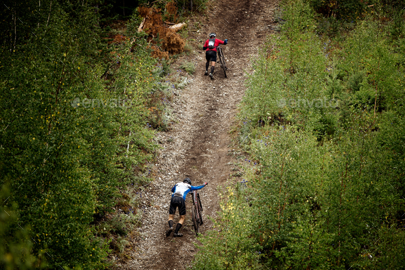 Two Athlete Mountainbiker - Stock Photo - Images