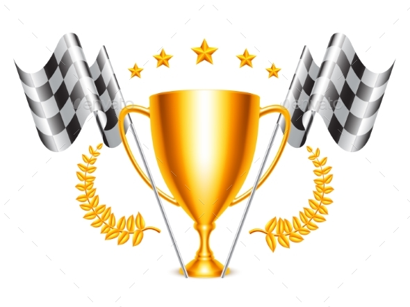 Trophy Cup and Checkered Flags - Sports/Activity Conceptual