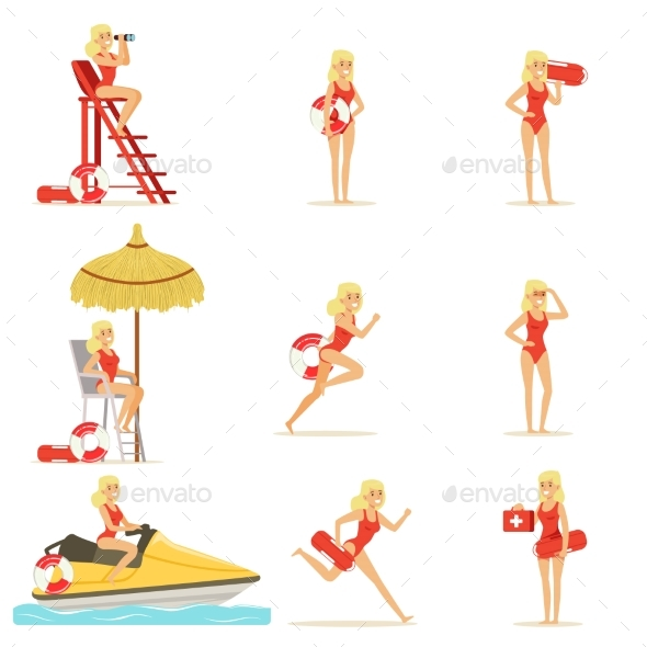 Lifeguard Woman Character Doing Her Job - People Characters