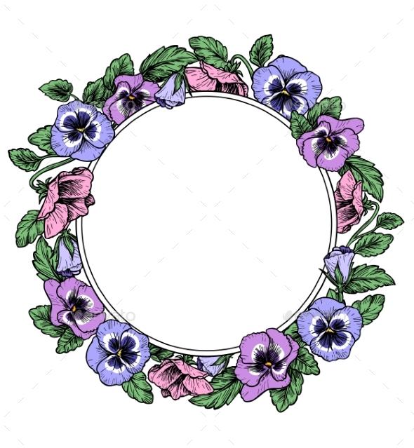 Frame of Vintage Botanical Flowers - Backgrounds Decorative