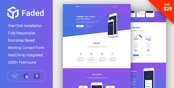 Faded - Responsive App Landing Page WordPress Theme - WordPress