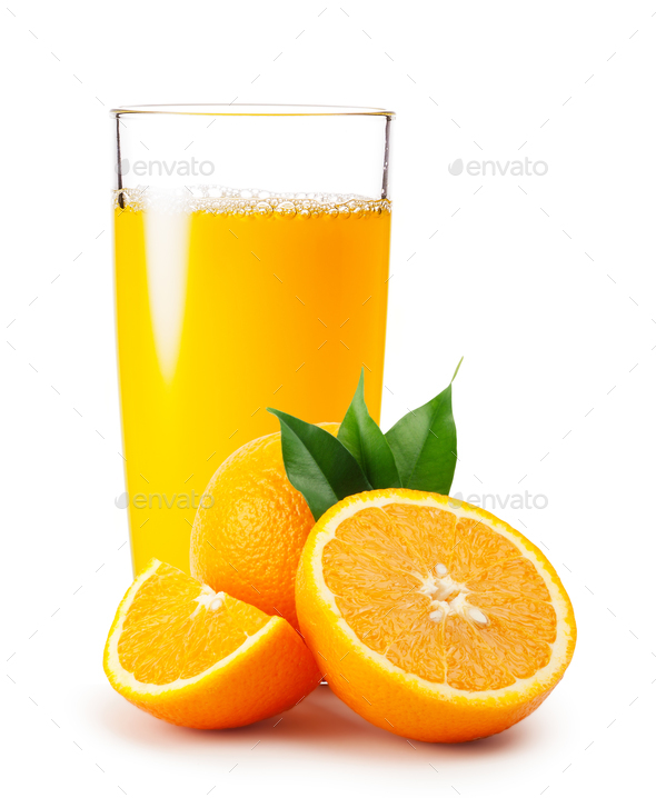 Orange juice pouring into glass and oranges with leaves - Stock Photo - Images