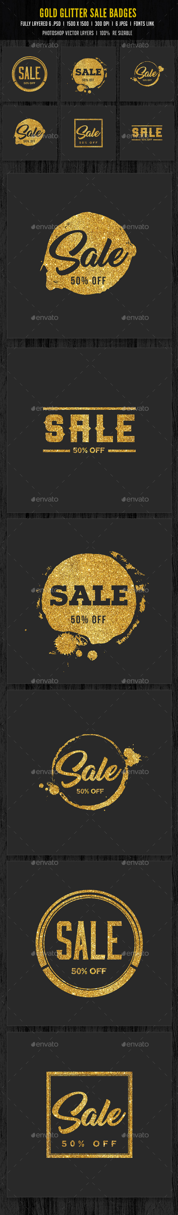 Gold Glitter Sale Badges - Badges & Stickers Web Elements