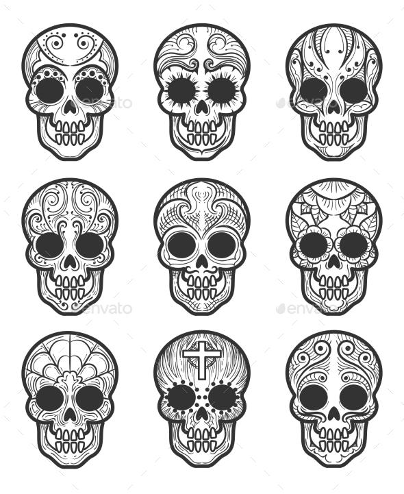 Calavera or Sugar Skull Tattoo Set - Miscellaneous Seasons/Holidays