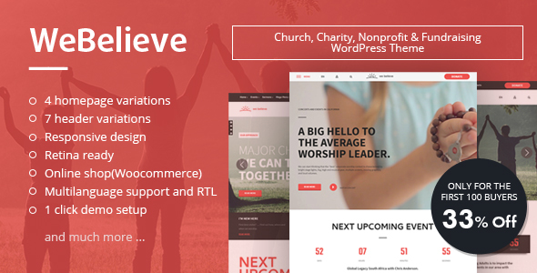 WeBelieve | Responsive Multi-Purpose Church, Charity and Fundraising WordPress Theme