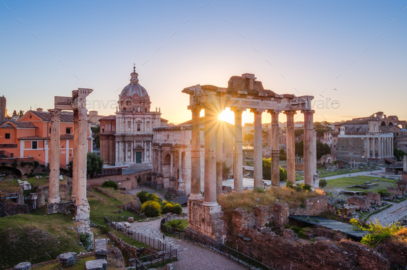 Scenic view of Roman Forum at sunrise, Rome - Stock Photo - Images
