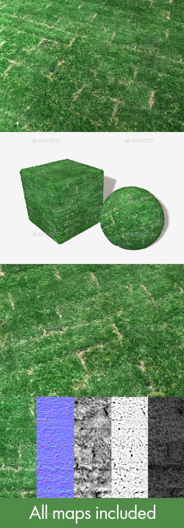 Freshly Laid Turf Patches Texture - 3DOcean Item for Sale