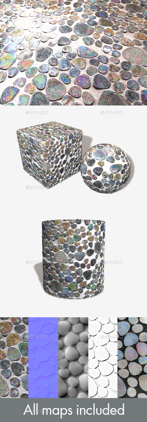 Iridescent Mosaic Tiles Seamless Texture - 3DOcean Item for Sale