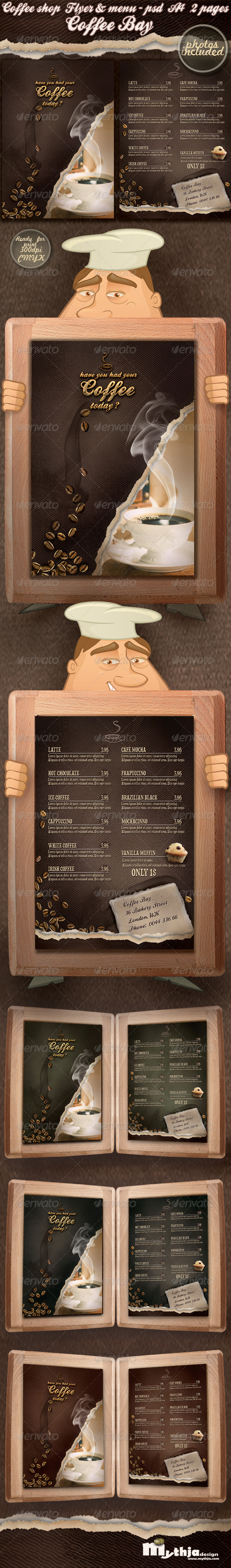 Coffee shop flyer & menu - photos included  - Food Menus Print Templates