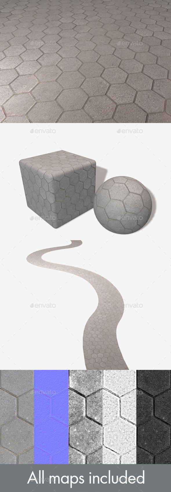 Hexagon Paving Slabs Seamless Texture - 3DOcean Item for Sale