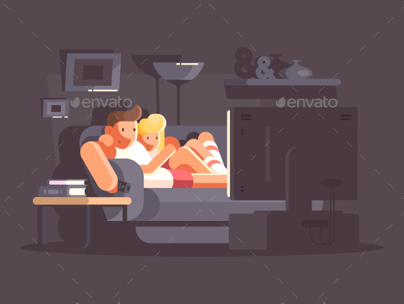 Married Couple Watching TV - People Characters