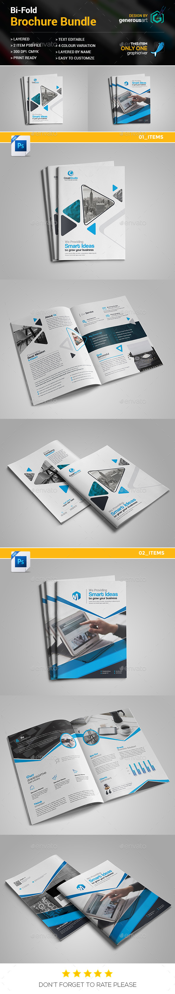 Business Bi-Fold Brochure Bundle 2 in 1 - Brochures Print Templates