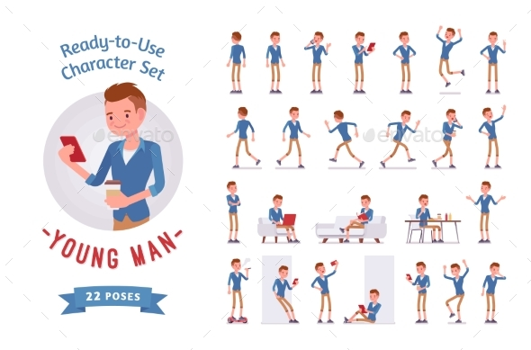 Ready-to-Use Young Man Character Set - People Characters