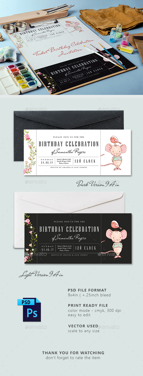 Ticket Birthday Party Invitation Card - Birthday Greeting Cards