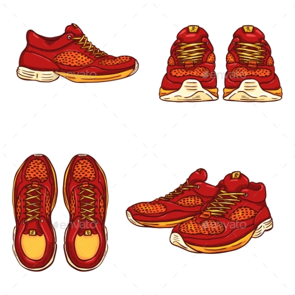 Vector Set of Cartoon Running Shoes - Man-made Objects Objects