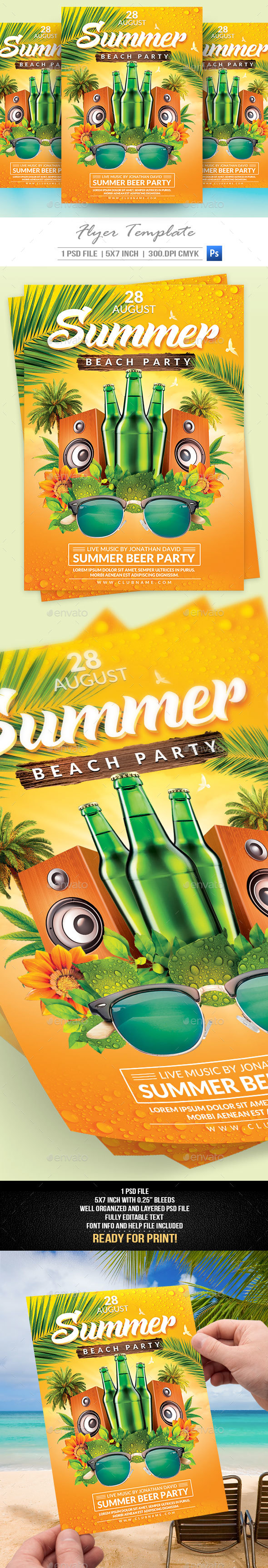 Summer Party Flyer Template V2 - Clubs & Parties Events