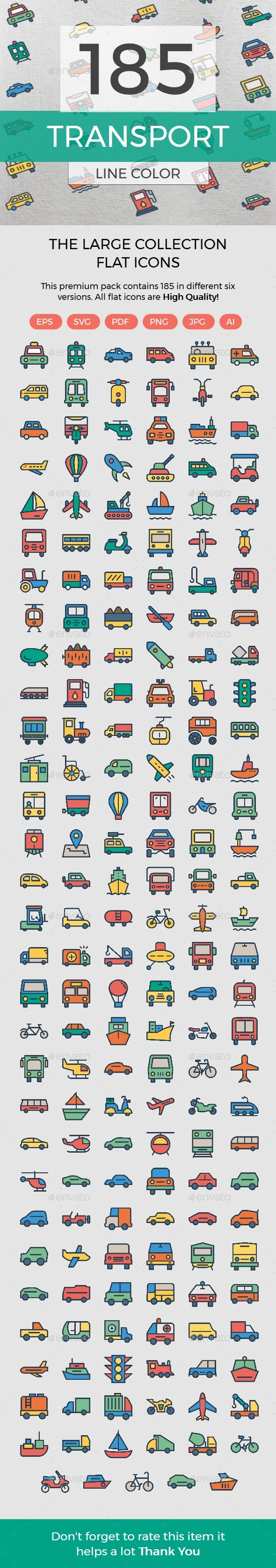 Transport Line Color Icons - Web Icons