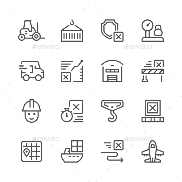 Set Line Icons of Logistics - Man-made objects Objects