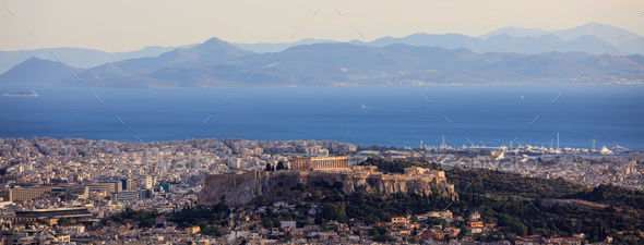 Athens, Greece - Panoramic view of Acropolis - Stock Photo - Images