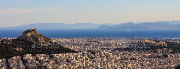 Athens, Greece - Panoramic view of Acropolis and Lycabettus - Stock Photo - Images