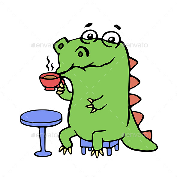 Dinosaur Sitting in a Cafe - Food Objects