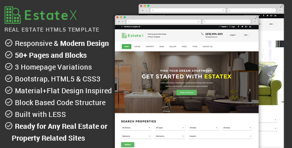 Real Estate Website Template – EstateX