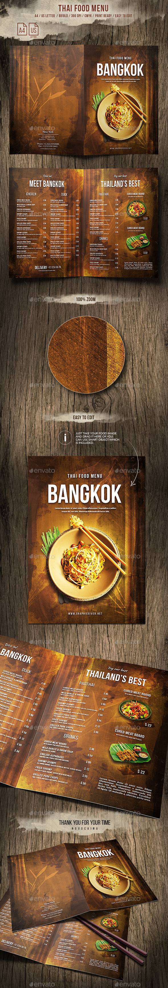 Thai A4 and US Letter Bifold Food Menu - Food Menus Print Templates