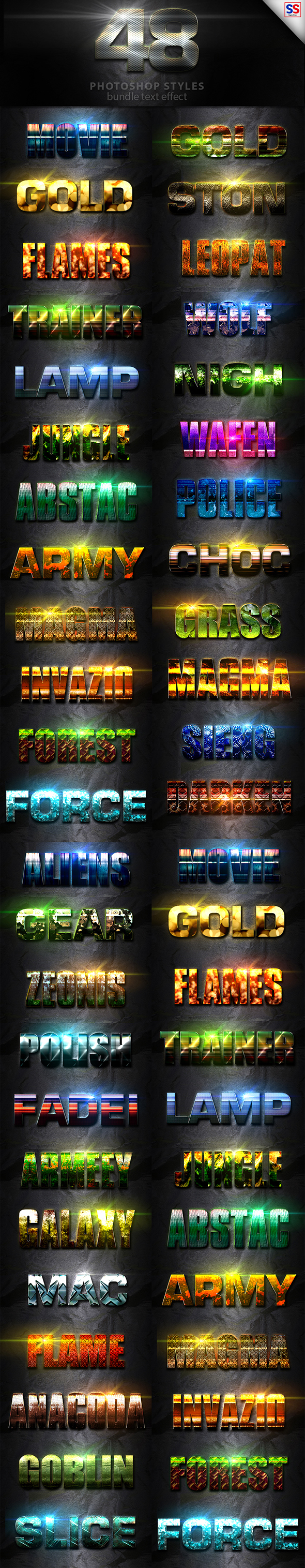 48 Text Effect Bundle Vol 3 - Text Effects Styles