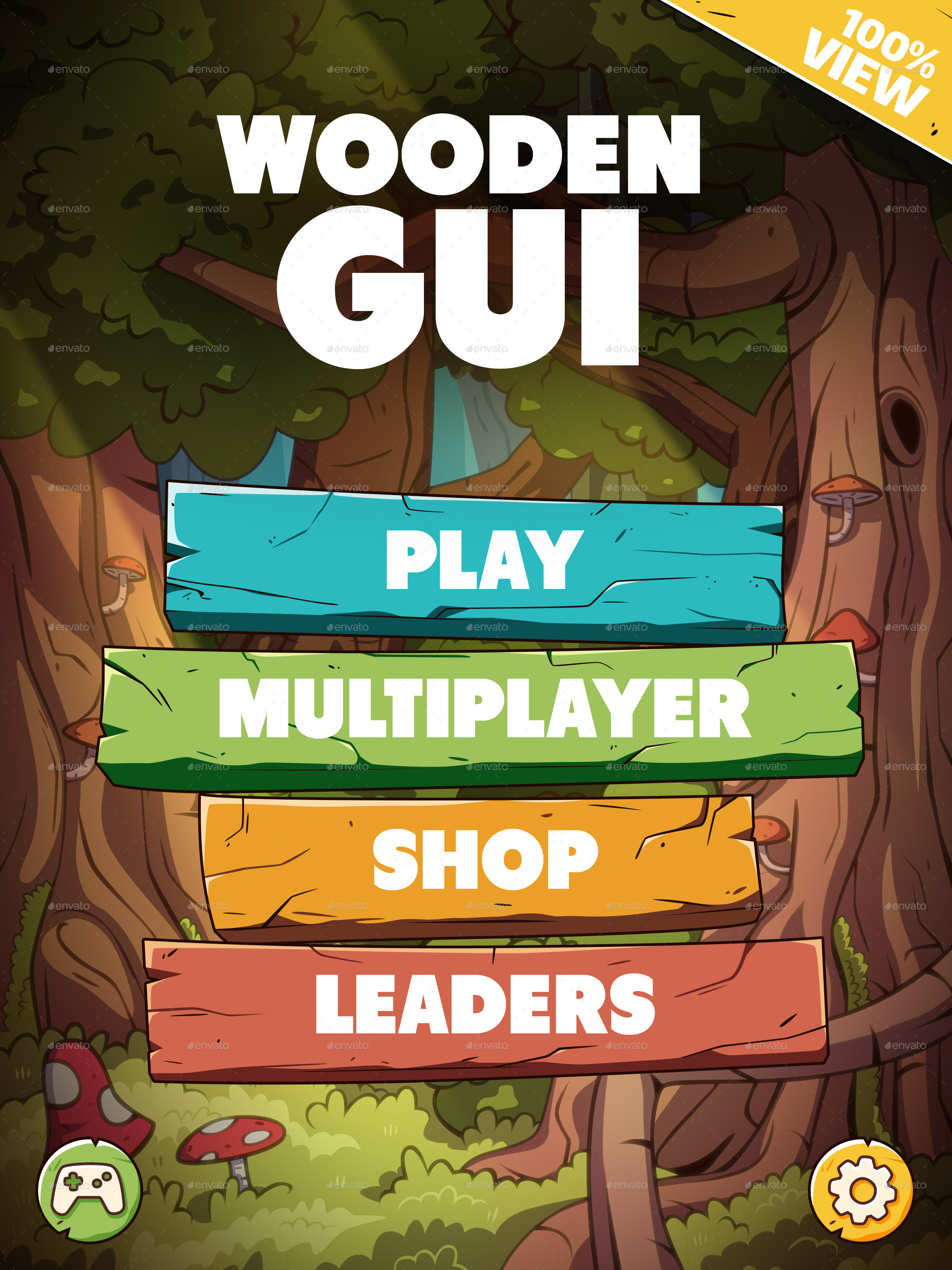 wooden gui for mobile game by