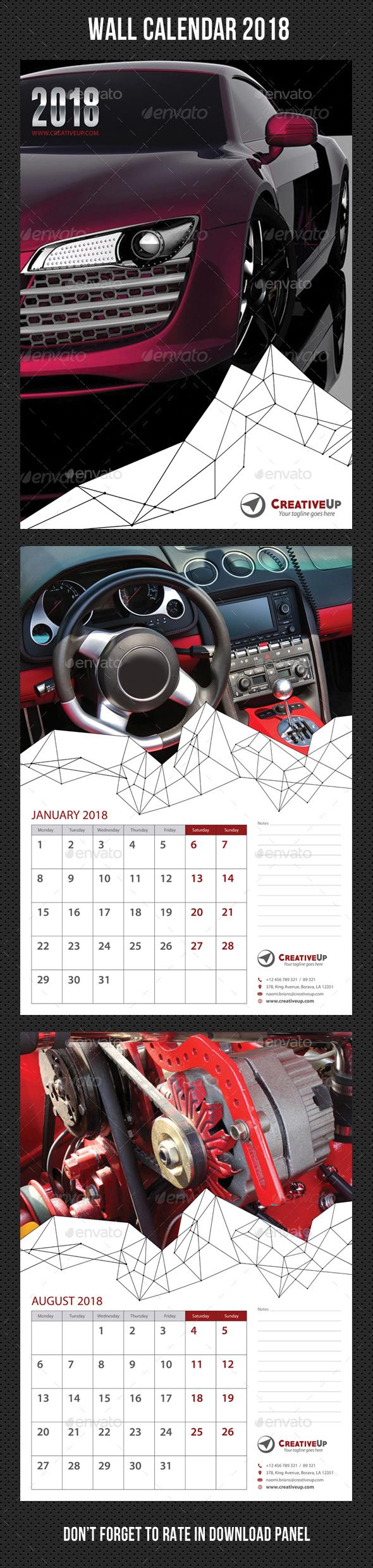 Wall Calendar 2018 V03 - Calendars Stationery