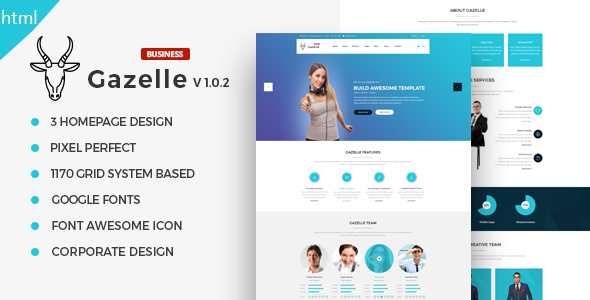 Gazelle – Fully Responsive Multi-Purpose HTML5 Website Template